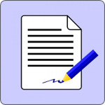 sign document contract icon clip art 9409